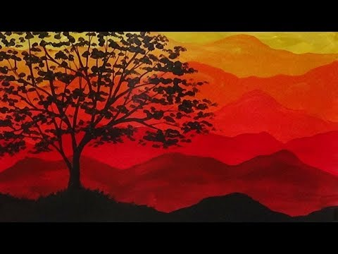 Abstract Acrylic Painting Autumn Mountains and Tree Silhouette Painting