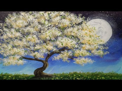 Acrylic Painting | Blossoming Tree and Moon | Painting Tutorial Demonstration