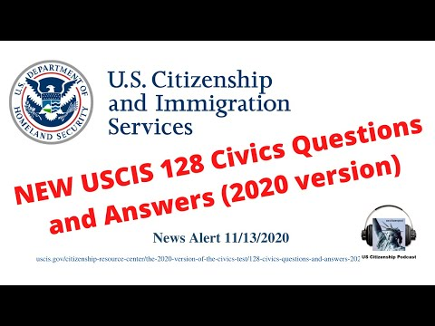 NEW USCIS 128 Civics Questions and Answers (2020 version)