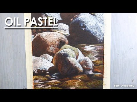 How to Draw Realistic Rocks in Oil Pastel | step by step
