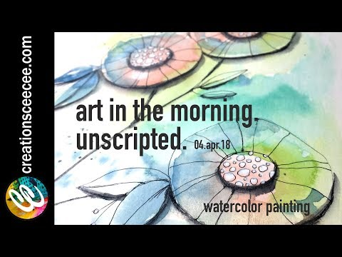 easy watercolor painting and doodling on a rainy morning