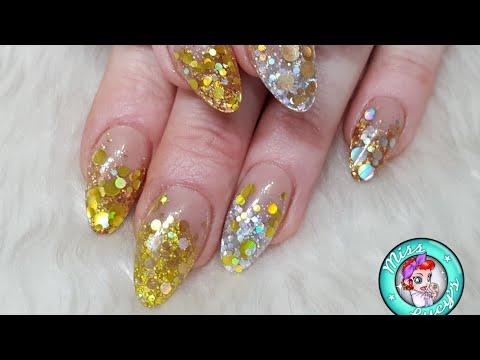 Gold & Silver Glitter Acrylic Nails