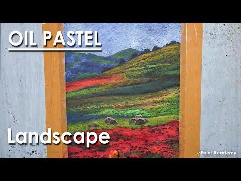 Oil Pastel Landscape : A Beautiful Farmland