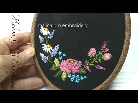 Mini Embroidery || Satin Stitch || Garden Flowers * Мини Вышивка