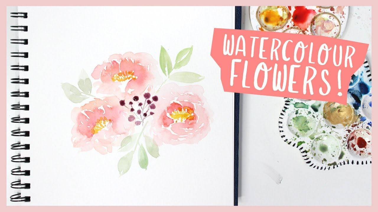 Paint With Me: Watercolor Peony Bouquet (Beginner Flower Tutorial)