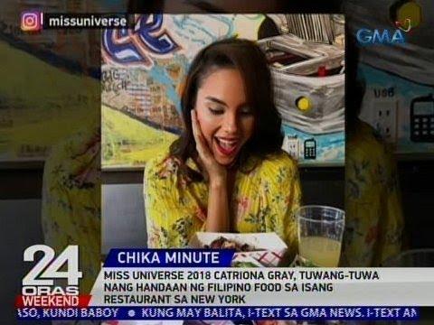 24 Oras: Catriona Gray, tuwang-tuwa nang handaan ng Filipino food sa isang restaurant sa New York