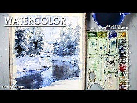 Icy Winter Stream- Watercolor Painting step by step | Artist-Composer: Supriyo