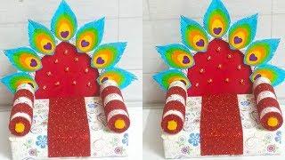 Ganpati Decoration Ideas At Home | Easy Makhar Making | Decoration Ideas Eco Friendly