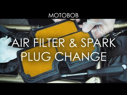How To Change Motorcycle Air Filter & Spark Plugs (Kawasaki ER-6n)