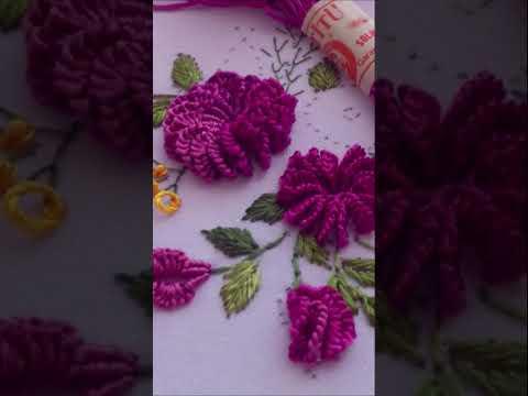 Brazilian Embroidery   Mix Cast-on Stitch & Rococo #shorts