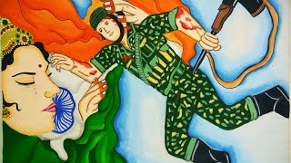 Independence Day special painting / a Soldier sacrificing his life for mother India