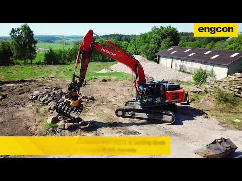 Hitachi ZX300 with engcon Tiltrotator and Stone & Sorting Grab