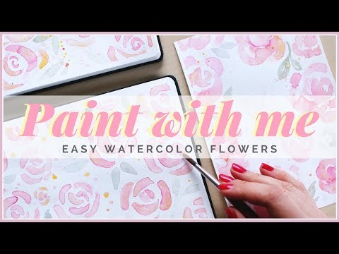 How to Paint Simple Watercolor Flowers for Beginners! Valentine's Day Card Idea