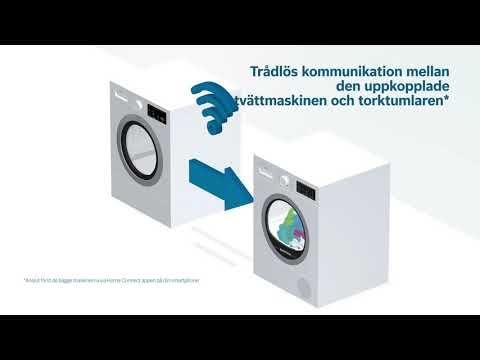"""Torktumlare med funktionen """"Smart Dry""""; uppkoppling till tvättmaskinen för optimerat torkprogram."""