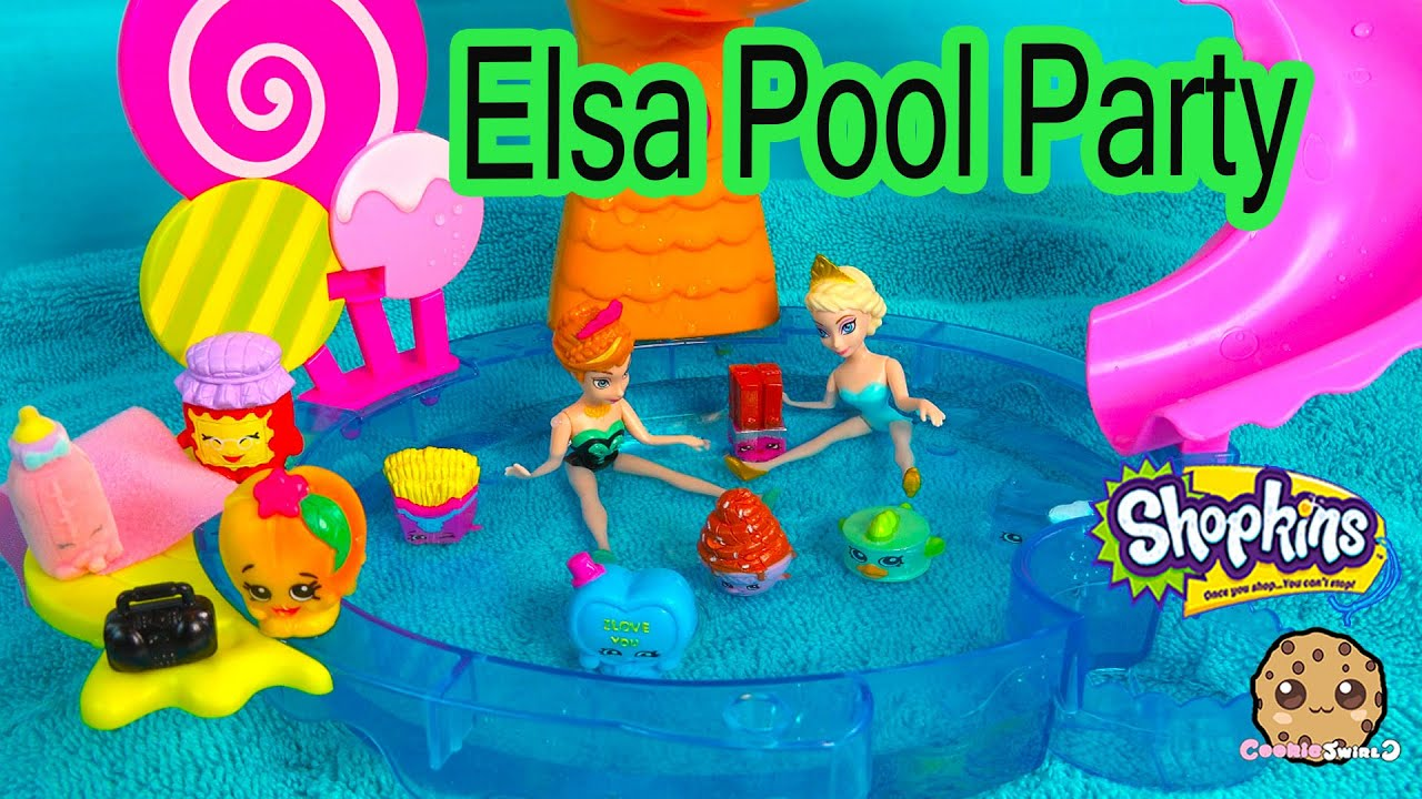 Disney Frozens Queen Elsa Pool Party With Shopkins From Season 1 2 3 Limited Edition Tina Tuna