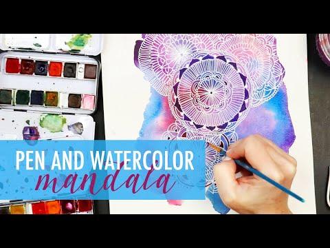 watercolor and pen mandala