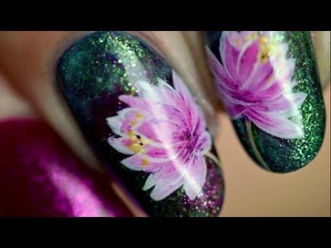 Nail art water lily easy