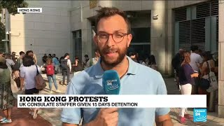 Hong Kong protests: Rally held outside UK consulate after staffer detained