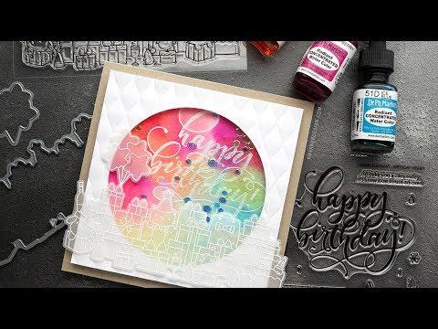 EASY Watercolor Birthday Shaker Card