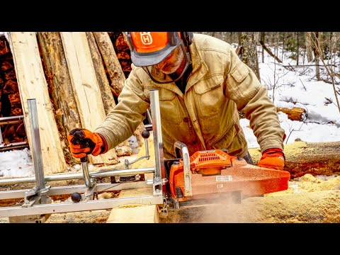 Making Lumber for My Log Cabin with an Alaskan Chainsaw Mill