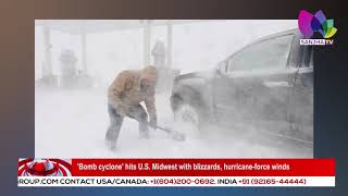 'Bomb cyclone' hits U S  Midwest with blizzards, hurricane force winds