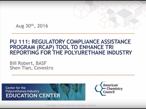 New Polyurethanes Webinar on RCAP Tool to Enhance TRI Reporting