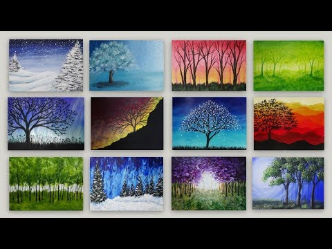15 Tree Acrylic Paintings - Time lapse Painting Video Gallery