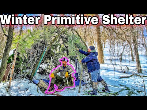 Primitive Survival Shelter - Building Up Base Camp - Winter Camping Rocky Mountains - Day 2