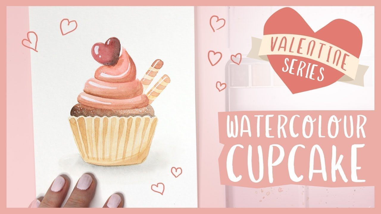A Watercolor Cupcake Tutorial | 2019 Valentine's Day Series