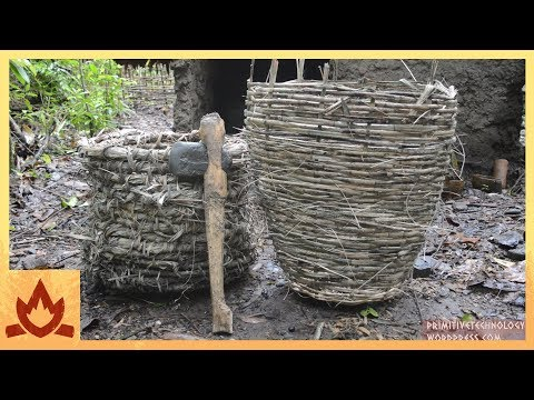 Primitive Technology: Baskets and stone hatchet Poster