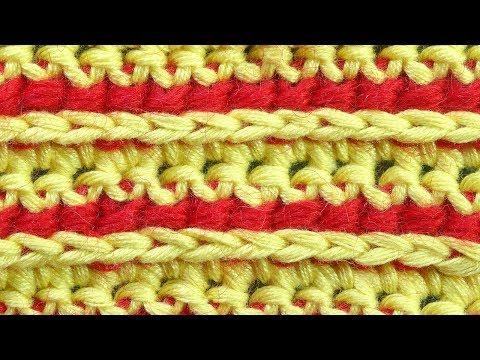 Гибридный двухцветный узор вязания Crochet stitches  6