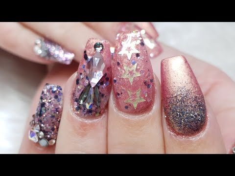 Pink Christmas and New Year Nails - Pigment,Glitter and Swarovski