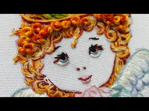 Hand Embroidery: Beautiful angel | hair and face  | 2 part