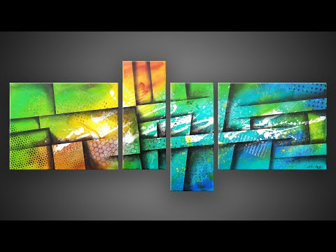 Abstract Painting using acrylic paints and masking tape | Satisfying | Wazer