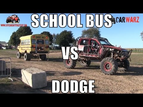 Dodge Truck Vs School Bus Tug Of War At Minto Tuff Truck Challenge 2018