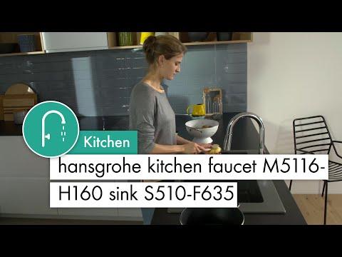 hansgrohe kitchen mixer M5116 H160 Sink S510 F635 stone grey
