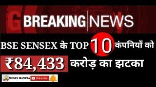 BREAKING NEWS | BSE SENSEX के TOP 10 कंपनियों को Rs 84,433 करोड़ का झटका