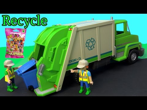 PLAYMOBIL Green Recycling Truck & Surprise Mystery Blind Bag Unboxing Toy Review - UCelMeixAOTs2OQAAi9wU8-g