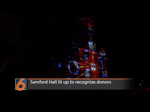 Samford Hall lit up to recognize donors.