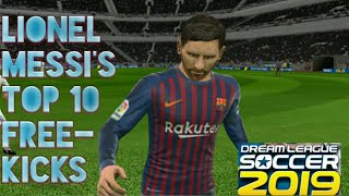 Top 10 Lionel Messi's Free kick in Dream League Soccer