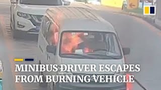 Minibus driver escapes from burning vehicle
