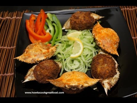 Asian Crab meat & Beef cooked in the shell how to cook great food recipe crabmeat