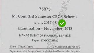 [2018] Mdu Mcom 3rd Sem Management of Financial Service Question Paper #MduQuestionPaper