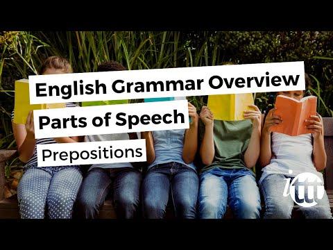English Grammar Overview - Parts of Speech - Prepositions