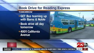 Golden Empire Transit holding book drive for Reading Express