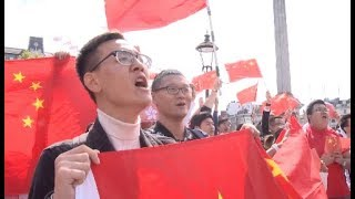 Chinese Nationals in London Hold Peaceful Rally Against Violence in Hong Kong