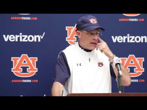 Auburn Head Football Coach Gus Malzahn gives a postgame interview following Auburn's 58-7 victory over the University of Louisiana-Monroe
