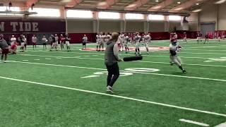 Hilarious Alabama staffer uses padded bat in fumble drill