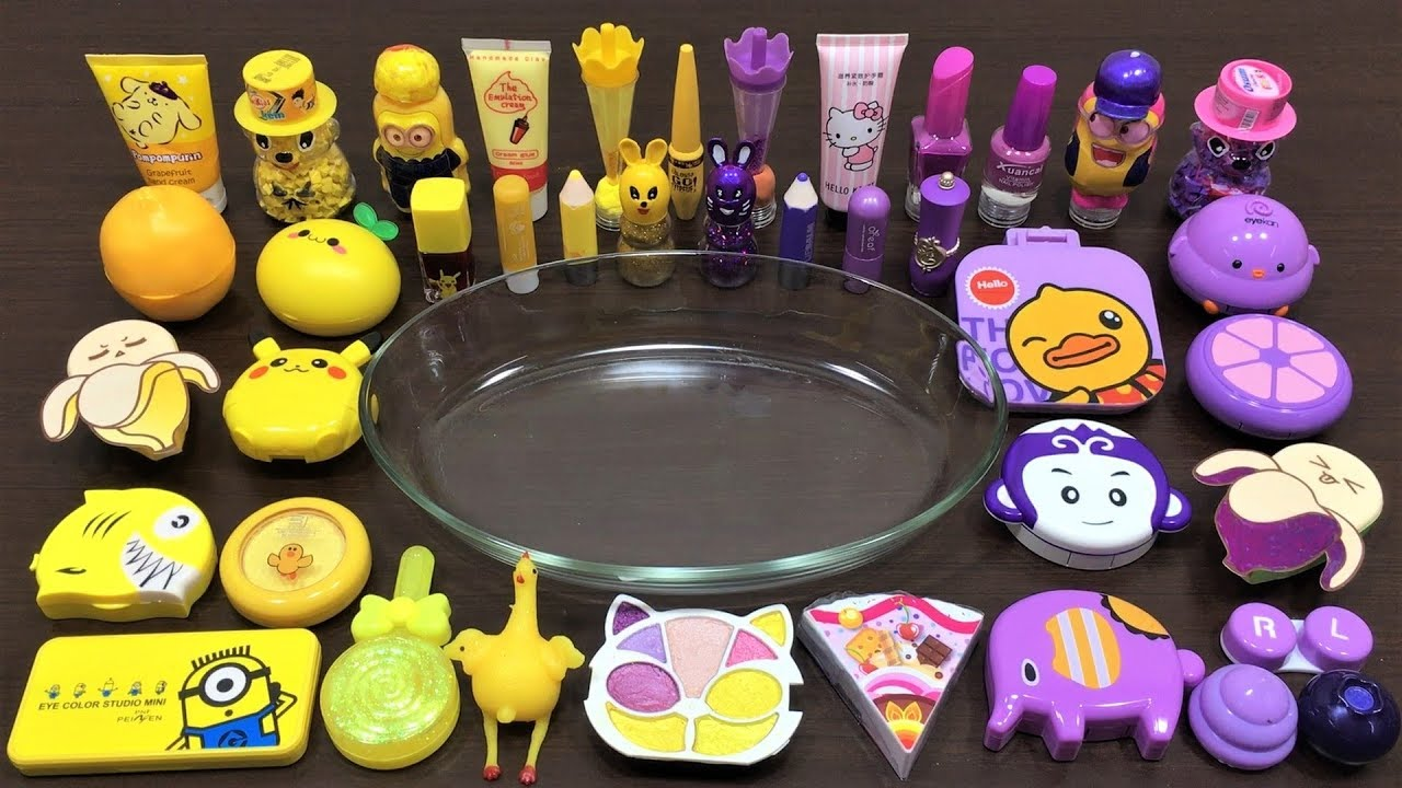 Mixing Makeup and Floam Into Slime ! Purple vs Yellow Special Series 2 Satisfying Slime Videos