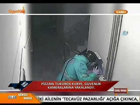 Müşterisine Götürdüğü Pizzanın İçine Tüküren Kurye Güvenlik Kamerasına Yakalandı
